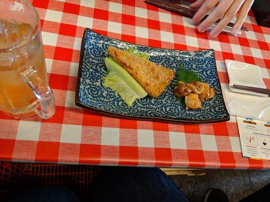 Walking Food Tour in Yurakucho, Shimbashi and Ginza: tempura ham with yakatori chicken