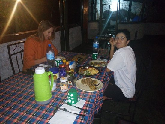 Mehabad and Christine at Sun Bright tented camp got dinner