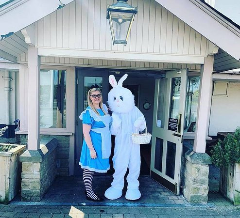 Alice in Wonderland and the Easter Bunny came to visit!