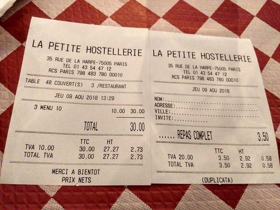 La Petite Hostellerie: Factura de 3 menús y 1 café