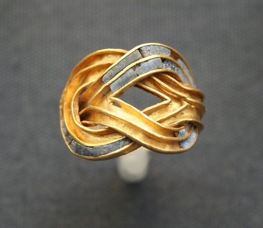 Minoan golden ring. Crete. Greece