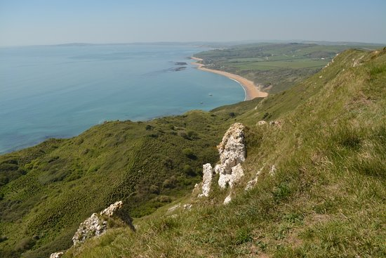 Ringstead Bay as seen from the South West Coast path above.