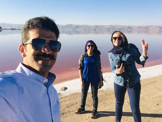 Maharloo Lake: With two nice and girls from Belgium with different nationality beside the maharloo lake
