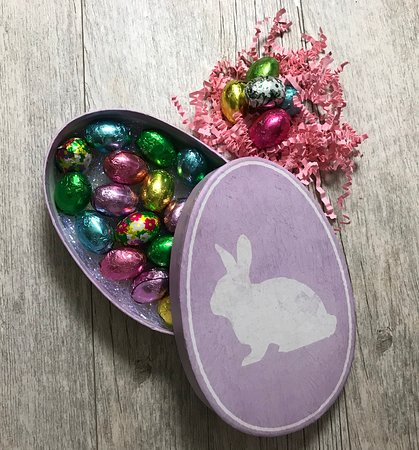 Easter gift box with foiled eggs