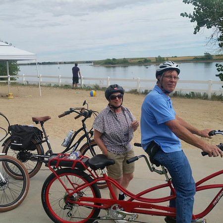 Ron and Diana on a Pedego Tandem with a group of friends.