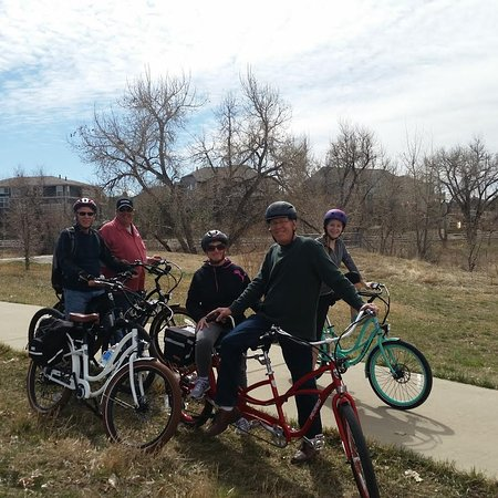 Family having a fun ride on the Piney Creek Trail which is super close to Pedego Electric Bikes Southlands. Connect to 80 miles of trails right from Pedego Electric Bikes Southlands. Ride without worrying about cars from the store to downtown Denver or Old Town Parker.