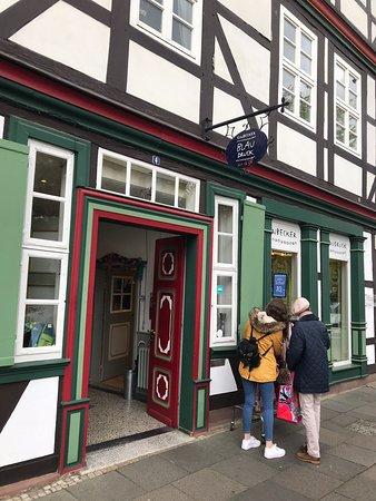 Einbecker Blaudruck: Historischer Blaudruck aus dem historischen Stadtkern von Einbeck