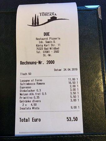 Toscana Due - Restaurant Pizzeria: Rechnungsbeleg