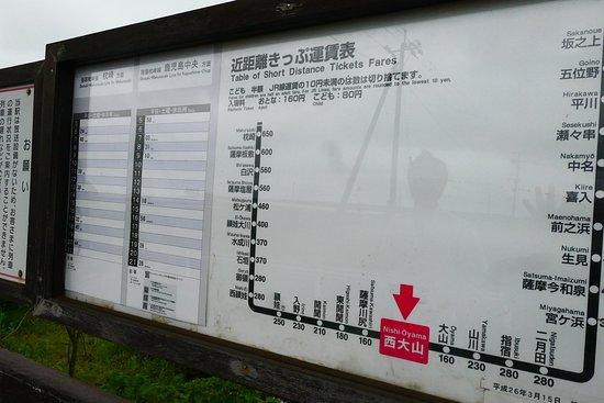 JR Southernmost Nishioyama Station: 指宿枕崎線はとても本数が少ない電車で、西大山駅には1時間に0ないし1本(上り・下り合わせて)しか電車が来ません。 駅に停車する電車を見たければ事前に時刻表をチェックしないと1時間以上待つこともありえます。