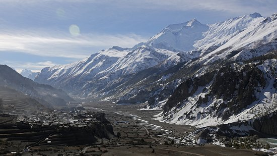 Looking back on Manang and the Marsyangdi valley