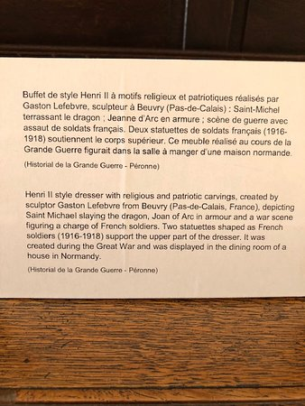 Musee Somme 1916 Admission Ticket: Description of buffet carved during the Great War