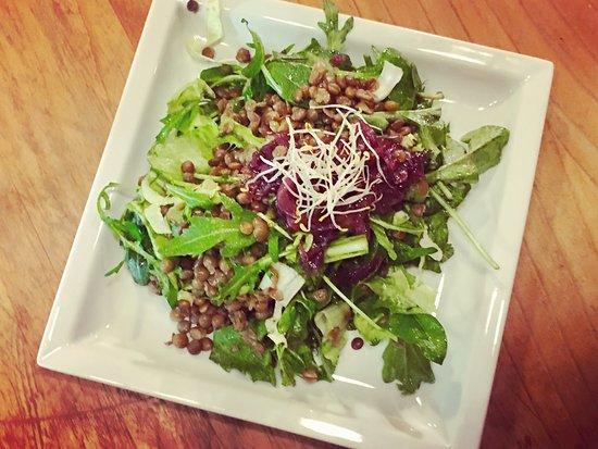 Volta Rossa: Insalatina di lenticchie, misticanza orientale, tarassaco e cipolle rosse caramellate!