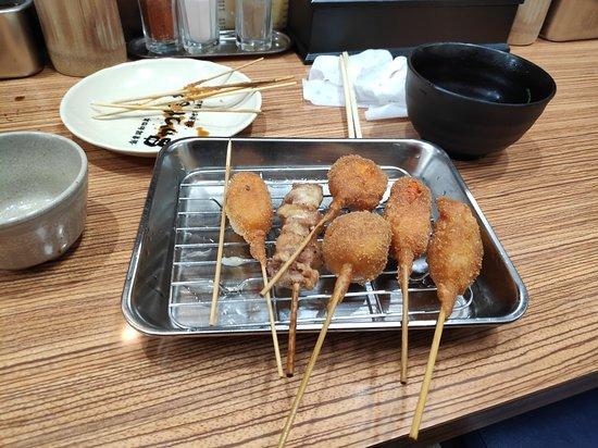 Daruma Shinsaibashi: kushikatsu, ramen soup and doteyaki