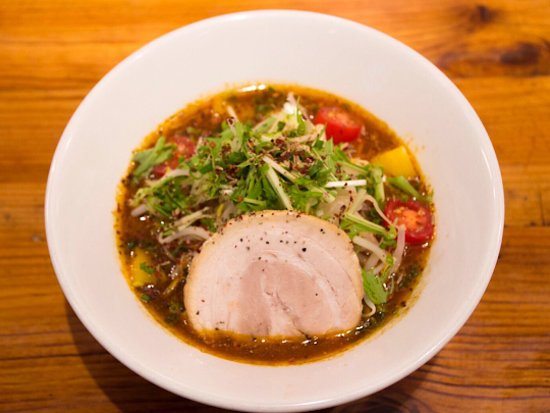 """Soranoiro Tonkotsu & Kinoko Kyobashi: This is Spicy Tonkotsu (pork bone broth) Ramen, 850yen which is our main product. Broth is spicy but rich and fresh flavor which suits thin noodle of """"al dente"""" texture."""
