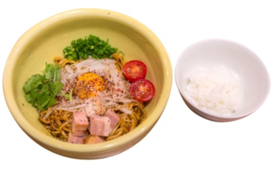 """Soranoiro Tonkotsu & Kinoko Kyobashi: This is Spice Soupless Ramen with rice, 900yen.  This is new style Ramen of """"soupless"""" but there is spicy sauce underneath noodle, so please mix well then eat. If you are hungry, you can have extra portion of noodle by free of charge! Also we serve rice so please put it into remained sauce after you finished noodle."""