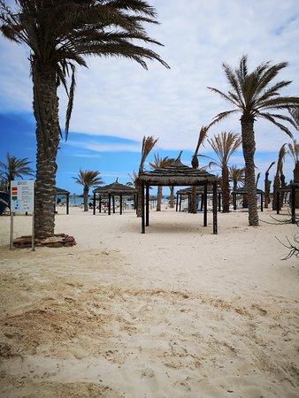 la plage aménagée de l'hotel.