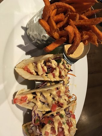 Blackened fish tacos with sweet potato fries