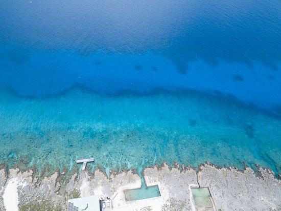 An aerial shot of the reef at Lighthouse Point.