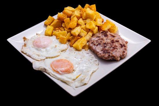 Meat Leon Burger with Eggs and Patatas Bravas