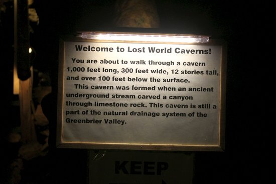 Lost World Caverns: 1,000 ft x 300 ft x 12-stories
