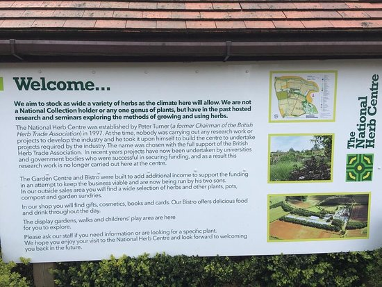 A sign explaining about 'The National Herb Centre's' name origin, history of the centre etc