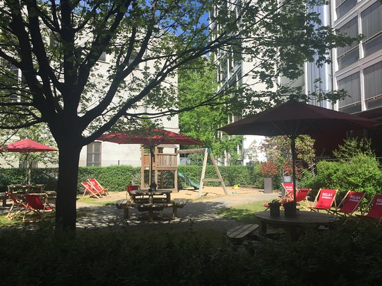 Play area and garden in back of hotel