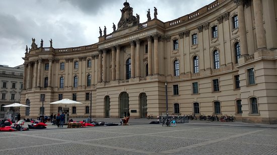Discover Berlin Half-Day Walking Tour: Humboldt University square, and memorial for the Book Burning of 1933.  On the day we visited, there was an outdoor library installation