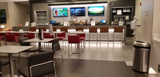 Bar in the new terminal B American Airlines lounge at Logan Airport