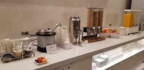 Counter in the new terminal B American Airlines lounge at Logan Airport, breakfast stuff