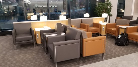 Nice seating, lots of plugs in the new terminal B American Airlines lounge at Logan Airport