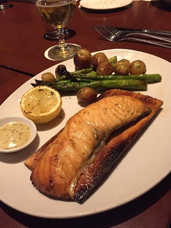 CEDAR PLANK-ROASTED SALMON roasted asparagus, marble potatoes, dill-mustard sauce