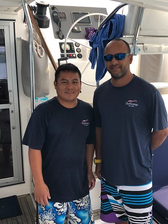 Chef Mateo and Captain Eggie, the all-star crew of the Calypso sailing from Placencia Village Belize.