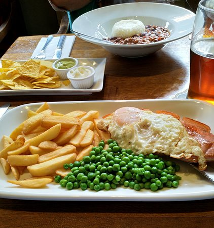 Tasty Gammon, Egg and Chips (with an excellent Chlli Con Carne in background)