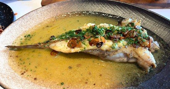 Grilled Monk Fish with Refrito Sauce ปลามังค์ฟิช ย่าง ราดซอส กระเทียมสไตล์สเปน