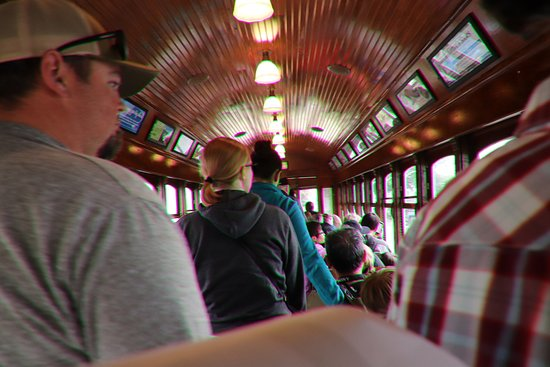 Lots of people on the Astoria Riverfront Trolley
