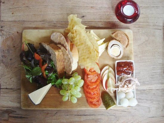 Cheese Ploughmans note pie so if veggie point it out - well balanced ploughmans -