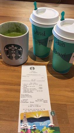 Coffee Time at Starbucks Plaza Surabaya with Soya Green Tea Late Extra Hot.  No sugar. Nice taste.   Buy 2 get 2 promo Starbucks card.  With Shirly Yunita SH MKn my Friend.  Yummy Time.