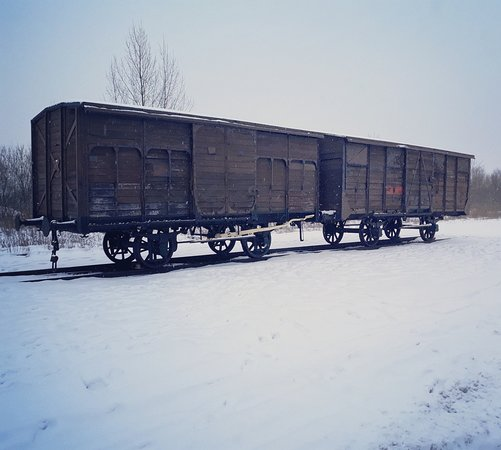 Krakow and Auschwitz-Memorial Tours by Matt: The two wagons at the Alte Judenrampe (The Old Jewish platform) between Auschwitz I and Auschwitz II Birkenau.