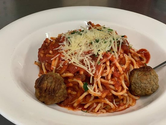 Fluffy's Kitchen Restaurant Spaghetti Marinara  for only $13 with meatballs in North Edwards CA