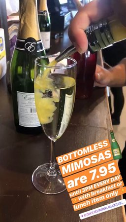 Bottomless Mimosas are 7.95 until 3pm! Every Day! With breakfast or lunch item only.