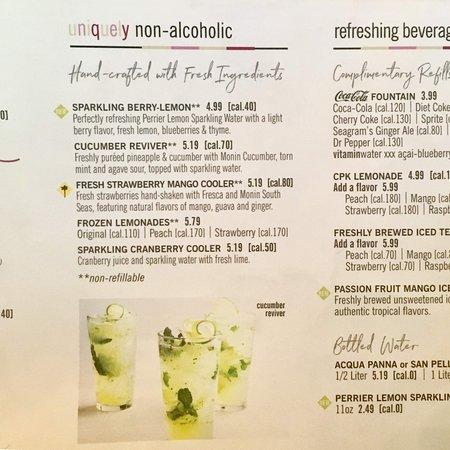 The Non Alcoholic Drink Menu Amazing Picture Of California Pizza Kitchen At The Park Las Vegas Tripadvisor