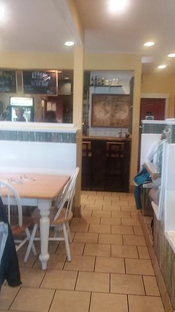 Table, booth, and window counter seating.