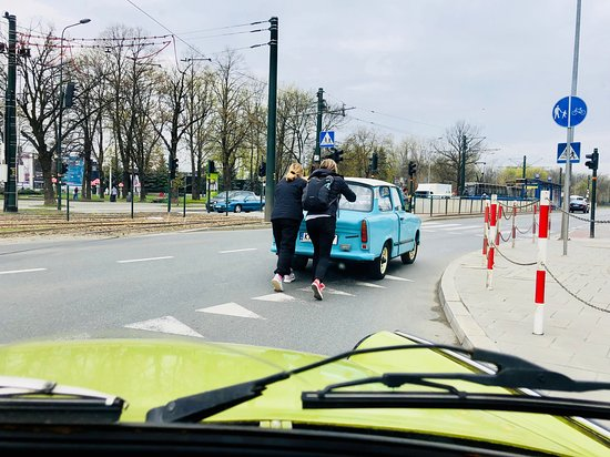 Communism Tour in a Genuine Trabant Automobile from Krakow: My daughter and I had to push the little blue Trabant to safety through traffic. Not a problem - the car was really light, and the drivers around us were patient.