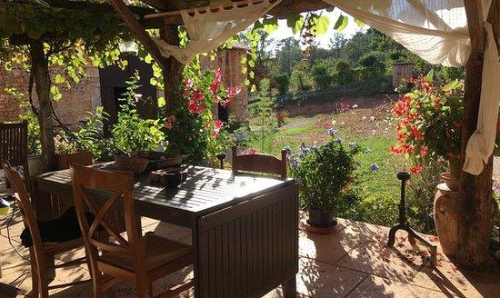 Saint-Jory-las-Bloux, ฝรั่งเศส: Terrasse extérieur bien sympa pour le petit déjeuner.
