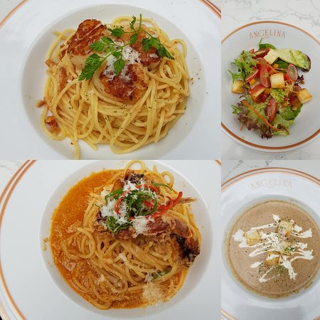 pasta, soup and salad