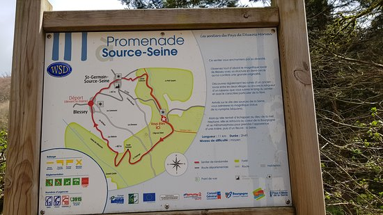 source de la seine carte Carte indiquant Source Seine   Picture of La Source de la Seine