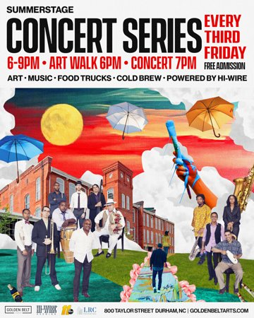 Each Third Friday of the month join us for a night of art, entertainment, food and fun. This is FREE and open to the public.  Here is what you can expect:  6pm-9pm: Visit the Warehouse Studios and see what our resident Artists and Durham Art Guild on display.  7pm-9pm: Enjoy our SummerStage music series.