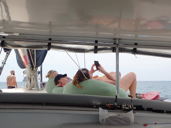5-Night Catamaran Sailing Trip in Southern Thailand: Relaxing on bean bags