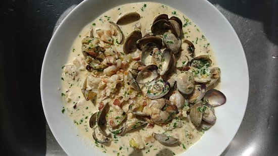 fresh shore clams with smoked fish, bacon and leeks