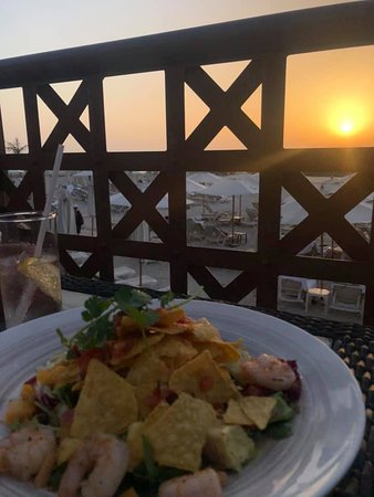 Sunset Dinner from restaurant patio next to the pool and beach access